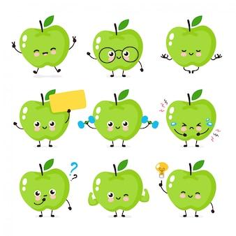 Śliczna szczęśliwa uśmiechnięta jabłczana postać ustawia kolekcję.
