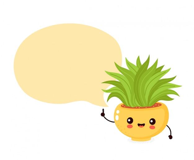 Śliczna szczęśliwa uśmiechnięta roślina w garnku z mowa bąblem.