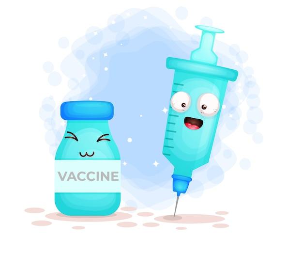 Śliczna szczęśliwa uśmiechnięta strzykawka i butelka szczepionki
