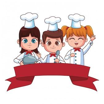 Śliczna szef kuchni dzieci kreskówka