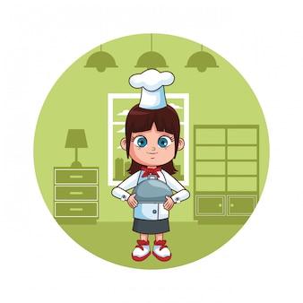 Śliczna szef kuchni dziewczyny kreskówka