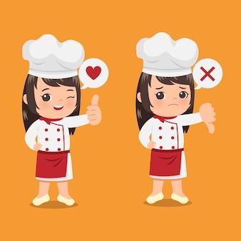 Śliczna szefowa kuchni pokazująca gest kciuka w górę iw dół jako znak aprobaty i dezaprobaty. kreskówka clipart płaska konstrukcja