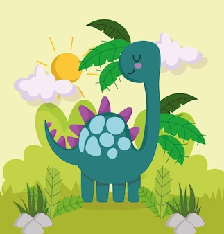 Śliczna tropikalna kraina dinozaurów