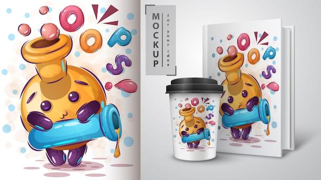 Śliczna tubka ilustracja i merchandising