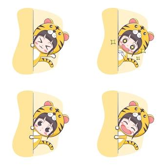 Śliczna tygrysia kostiumowa dziewczyna ukrywająca ilustrację kreskówki