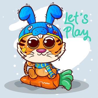 Śliczna tygrysia kreskówka z królika kapeluszem. wektor