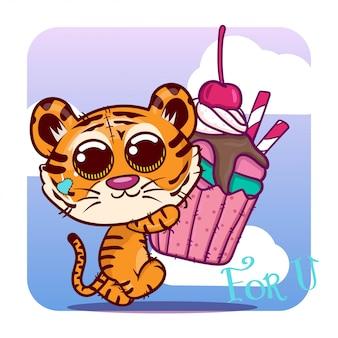Śliczna tygrysia kreskówka z słodkim tortem. wektor