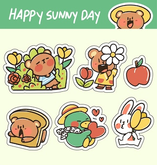 Śliczna urocza szczęśliwa słonecznego dnia zwierzęcia naklejki doodle ilustracja