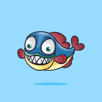 Śliczna uśmiechnięta ryba ze spiczastymi zębami w stylu ilustracji kreskówki