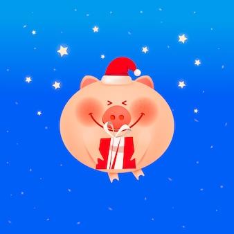 Śliczna uśmiechnięta świnia z prezentem na błękitnym tle.