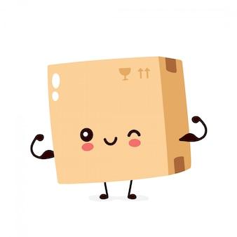 Śliczna uśmiechnięta szczęśliwa paczka, dostawy pudełka przedstawienia mięsień. charakter ilustracja kreskówka płaski. na białym tle. koncepcja postaci pole dostawy