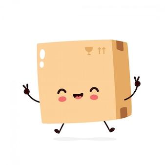 Śliczna uśmiechnięta szczęśliwa paczka, dostawy pudełko. charakter ilustracja kreskówka płaski. na białym tle. koncepcja postaci pole dostawy