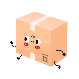 Śliczna uśmiechnięta szczęśliwa paczka, pole dostawy działa szybko. charakter ilustracja kreskówka płaski wektor. na białym tle. koncepcja postaci z kreskówek w pudełku dostawy