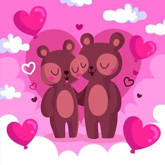 Śliczna walentynka niedźwiadkowa para