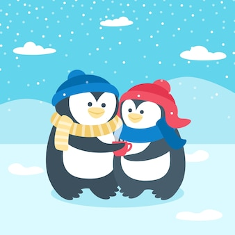 Śliczna walentynka pingwinu para
