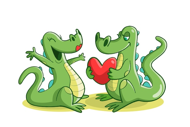 Śliczna walentynka zwierzęca para z krokodylami