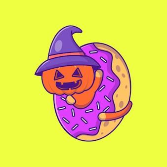 Śliczna wiedźma dynia w pączkach szczęśliwego halloween ilustracja kreskówka
