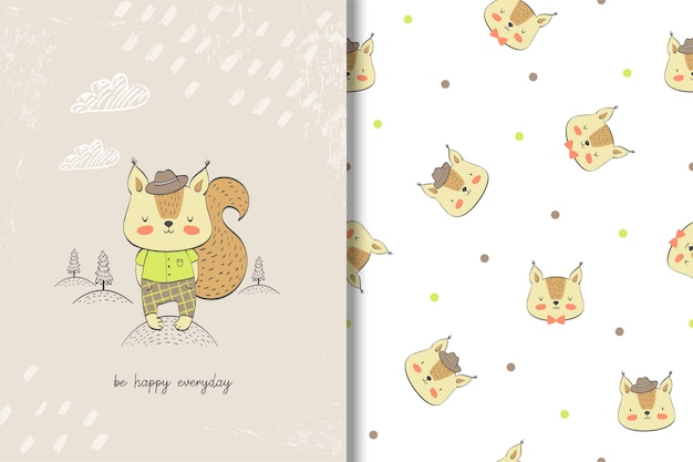 Śliczna wiewiórcza dziecko karta i bezszwowy wzór.