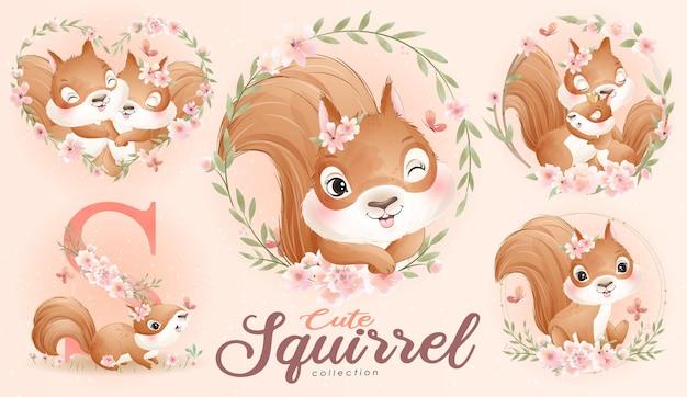 Śliczna wiewiórka doodle z kwiatowym zestawem z akwarelową ilustracją