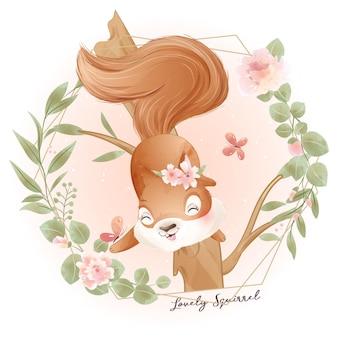 Śliczna wiewiórka doodle z kwiecistą akwarelową ilustracją