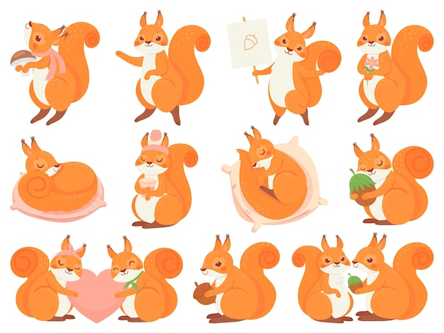Śliczna wiewiórka kreskówka maskotka