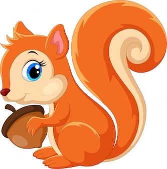 Śliczna wiewiórka kreskówka