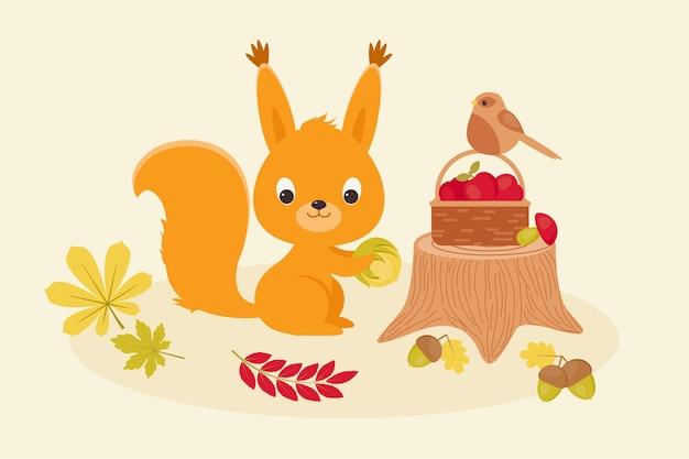 Śliczna wiewiórka wkłada żniwa do kosza mały ptaszek siedzący na koszu ilustracja wektorowa