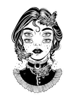 Śliczna wiktoriańska wiedźma z motylami i graficzną ilustracją cztery oczy. ciemna sztuka
