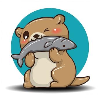 Śliczna wydra kreskówka., zwierzęcy kreskówki pojęcie.