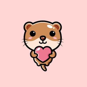 Śliczna wydra przytulająca miłosne serce