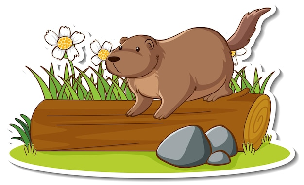 Śliczna wydra stojąca na naklejce z kłody