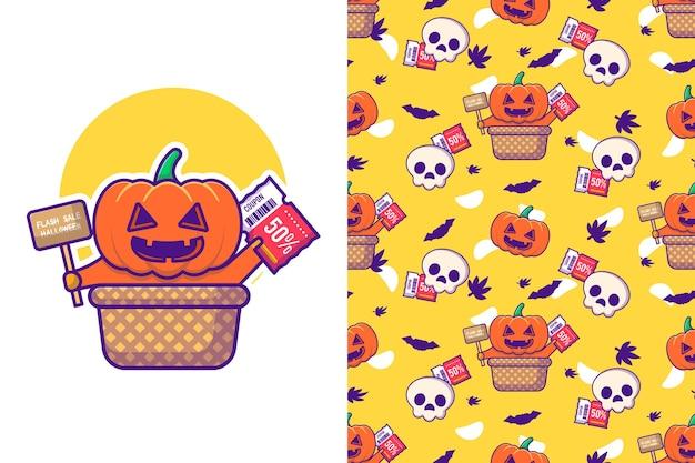 Śliczna wyprzedaż dyniowa na halloween z bezszwowym wzorem