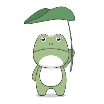 Śliczna żaba kawaii postać trzymająca duży liść