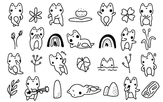 Śliczna żaba w stylu skandynawskim, ropucha, kwiat doodle ilustracja