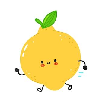 Śliczna zabawna biegająca cytryna