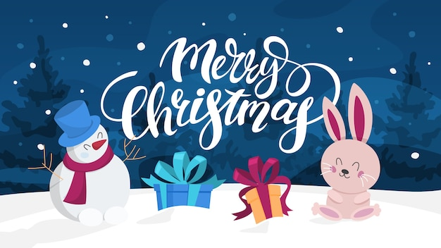 Śliczna zabawna dekoracja pocztówki merry xmas. kartka z życzeniami wesołych świąt z lasem w tle. bałwan i króliczek. piękny . ilustracja w stylu kreskówki