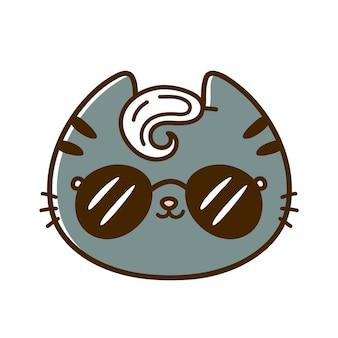 Śliczna zabawna fajna mała twarz kota z okularami przeciwsłonecznymi