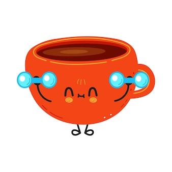 Śliczna zabawna filiżanka kawy z hantlami