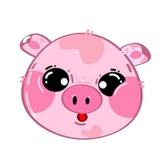 Śliczna zabawna kawaii mała świnka