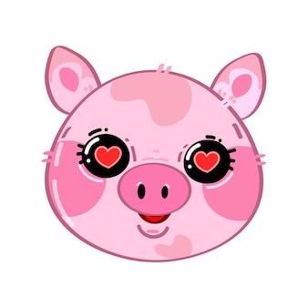 Śliczna zabawna kawaii mała zakochana świnia