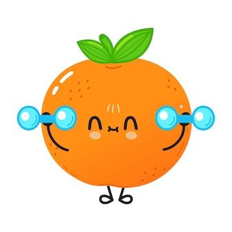 Śliczna zabawna mandarynka z hantlami