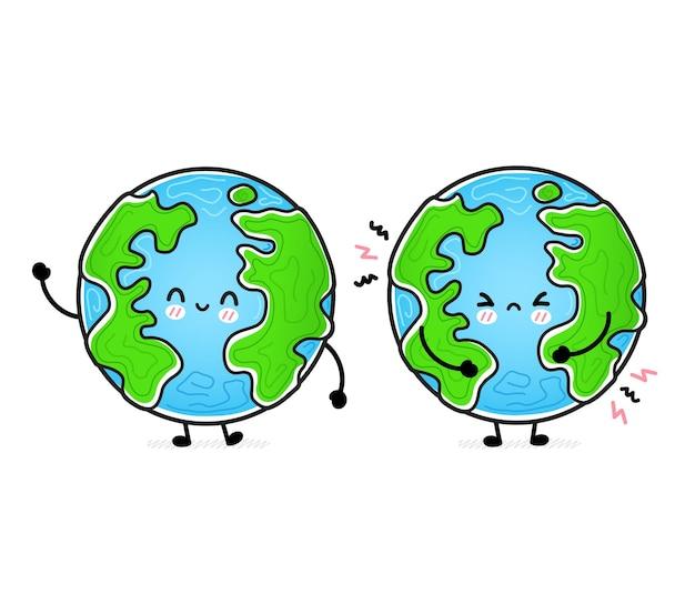 Śliczna zabawna szczęśliwa i smutna planeta ziemia.