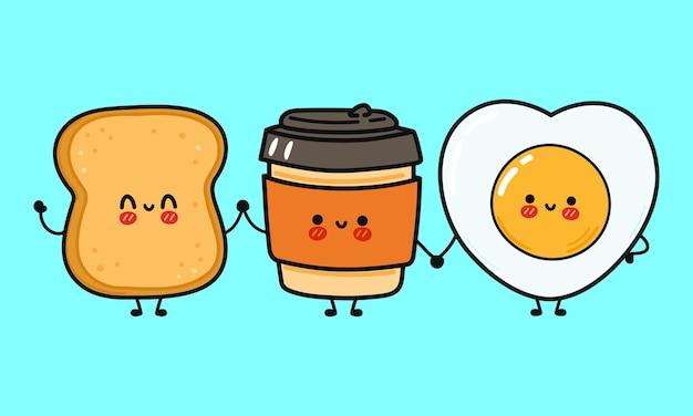 Śliczna zabawna, szczęśliwa kawa papierowa filiżanka tosty i smażony charakter jajka