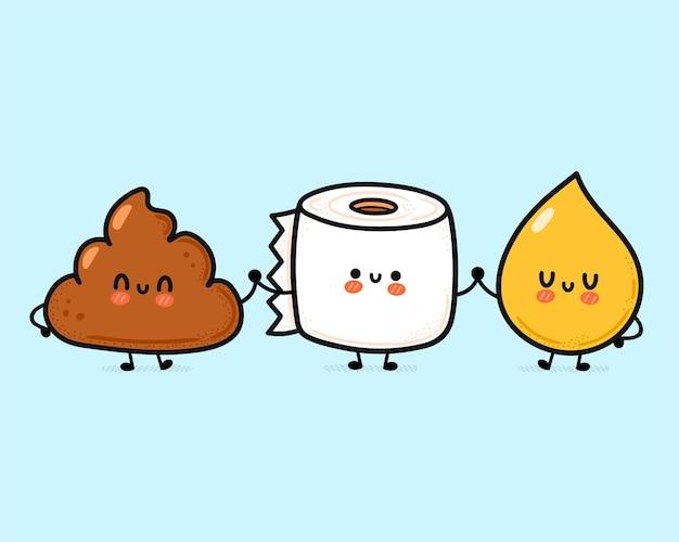 Śliczna zabawna szczęśliwa kupa, kropla moczu i papier toaletowy