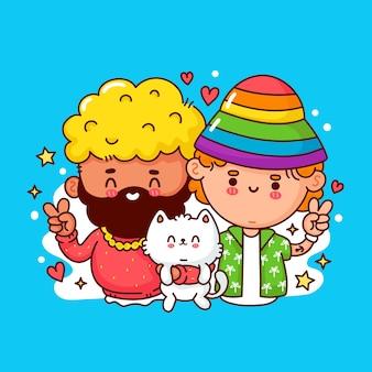 Śliczna zabawna szczęśliwa młoda para gejów