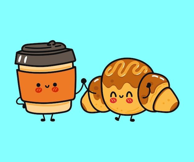 Śliczna, zabawna, szczęśliwa postać pączka i papierowego kubka kawy