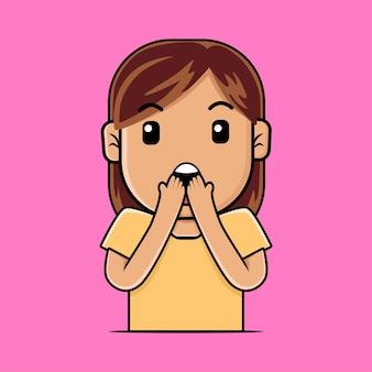 Śliczna zaskoczona dziewczyna ilustracja kreskówka