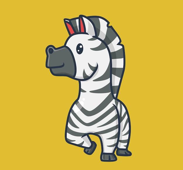 Śliczna zebra chodząca kreskówka zwierzęca natura koncepcja na białym tle ilustracja płaski styl odpowiedni