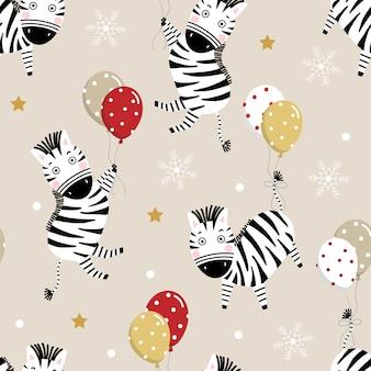 Śliczna zebra i balon w bożenarodzeniowym bezszwowym wzorze.