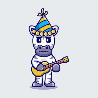 Śliczna zebra świętująca nowy rok z ilustracją gitary